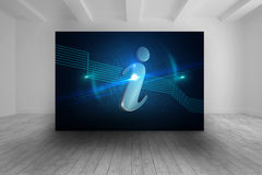 Room with futuristic picture of information icon Stock Photos