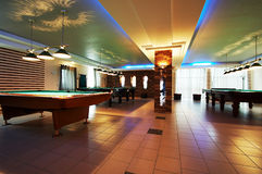 Room for game in billiards. In modern hotel stock image