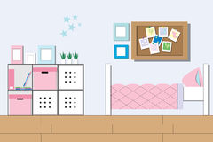 Room Girl, young lady teenager room or student bedroom interior. Room Girl, young lady teenager room or student bedroom interior with furniture in Flat style Stock Photos