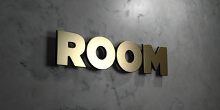 Room - Gold sign mounted on glossy marble wall  - 3D rendered royalty free stock illustration Stock Image