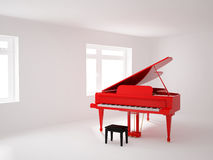 Room with a grand piano. High resolution image 3d room with a grand piano. 3d illustration Royalty Free Stock Photos