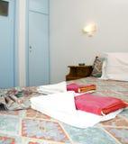 Room in greek island studio apartment for rent Stock Image