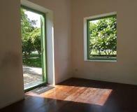 Empty Room with green garden view Stock Photos