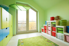 Room with green painted walls Stock Photos