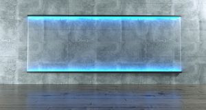 Room With Grunge Concrete Wall With Rectangle Blue Lightened Gla. Ss. Empty Space.3D Rendering Illustration stock illustration