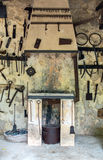 Room with hand tools. Room with pile of vintage hand tools stock images