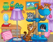 Room with happy cats Stock Images