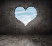 Room with heart window Royalty Free Stock Image