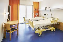 Room hospital bed orange no people stock photography