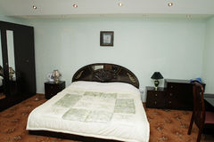 Room of hotel. Bedroom of hotel in the evening, Dushanbe, Tajikistan Royalty Free Stock Photography