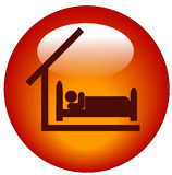 Room at hotel or motel icon. Red button or icon for bedroom available - concept for hotel or motel Stock Photos