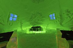room in ice hotel Royalty Free Stock Photo