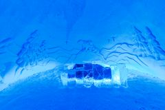 Room in ice hotel Stock Photo
