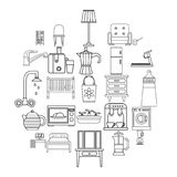 Room icons set, outline style. Room icons set. Outline set of 25 room vector icons for web isolated on white background Royalty Free Stock Images