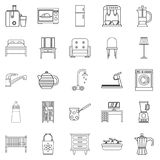 Room icons set, outline style Stock Photography