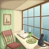 Room interior with a big window and rain outside it. Vector illustration. Vector illustration of a cozy room and rain outside the big window Royalty Free Stock Images