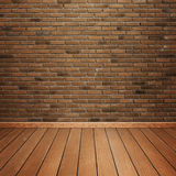 Room interior with brick wall and wood floor Royalty Free Stock Photos