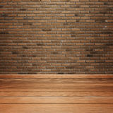 Room interior with brick wall and wood floor Royalty Free Stock Image