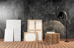 Room interior with canvas on black cement wall Stock Photography