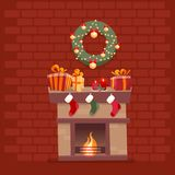 Room interior with Christmas fireplace with socks, decorations, gift boxes, candeles, socks and wreath on background of a dark red royalty free illustration