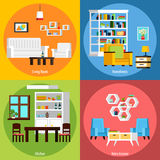 Room Interior 2x2 Compositions. Interior of different rooms presenting living room homeliness kitchen and retro interior orthogonal 2x2 compositions vector Stock Image