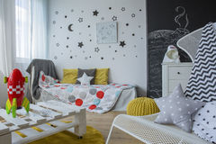 Room interior with cosmic motives Royalty Free Stock Photo