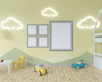 Room interior with a crib, cloud shaped lamps and a toy. Blue walls. Concept of minimalism. 3d rendering. Mock up. illustration royalty free illustration