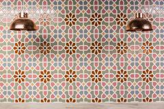Copper Lamps and moroccan wall tiles. Royalty Free Stock Image