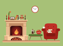 Room interior design with fireplace. Chair books, table, clock in evening  tea time. Flat style vector illustration Royalty Free Stock Photos