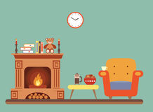 Room interior design with fireplace royalty free illustration