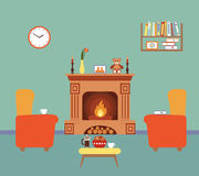 Room interior design with fireplace. Flat room interior with armchairs and fireplace. Vector illustration of cozy home for your design Royalty Free Stock Images