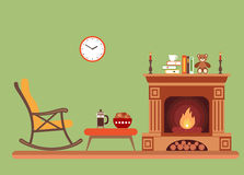 Room interior design with fireplace. Rocking chair books, table, clock in evening time. Flat style vector illustration Royalty Free Stock Photos