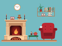 Room interior design with fireplace. Rocking chair bookshelf, table, clock in evening time. Flat style vector illustration Royalty Free Stock Photo