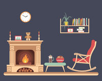 Room interior design with fireplace Royalty Free Stock Photos