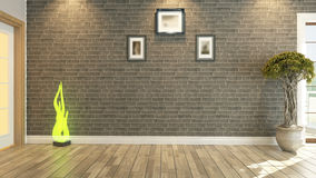 Room interior design. Room, salon or living room with brick wall plant Stock Photo