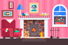 Room interior fireplace design with chair books, table, clock in evening tea time, fireplace. Flat vector illustration Royalty Free Stock Images