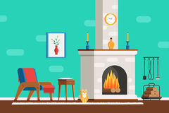 Room interior with fireplace. Living room interior with furniture: cozy armchair, fireplace, table, picture, clock, tools and the cat. Flat style vector Royalty Free Stock Photo