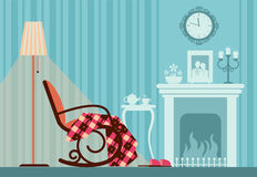 Room interior with fireplace. Room interior with rocking chair and fireplace in dark evening time Royalty Free Stock Photo
