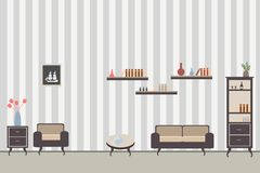 Room interior with furniture with sofa. Cupboard dresser and books against the striped gray wall royalty free illustration