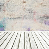 Room interior: grey old painted cement wall with wooden floor Stock Photography