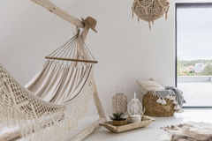 Room interior with hammock. And stylish decorations Stock Photo