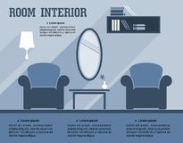 Room interior infographic template Royalty Free Stock Images