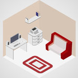 Room interior isometric. Computer work table, nightstand, printer, rack with books, sofa and carpeet Stock Photos