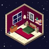 Room interior in isometric style. Bedroom with furniture vector illustration Stock Image