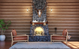 Room interior in log cabin building with stone fireplace and retro leather armchairs Stock Image
