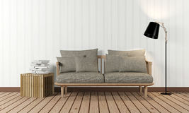 Room interior in minimalist style. Room interior with sofa and lamp in minimalist style, front view Stock Photography