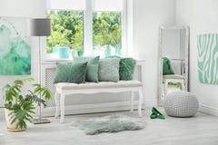 Room interior with mint decor elements. Stylish room interior with mint decor elements royalty free stock photos