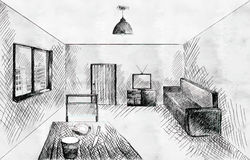 Room interior sketch. Doodle black and white Room interior sketch Royalty Free Stock Images