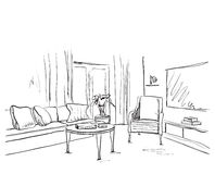 Room interior sketch. Hand drawn sofa and furniture. Royalty Free Stock Images