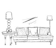 Room interior sketch. Hand drawn sofa. Stock Photography